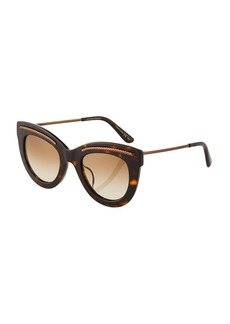 Bottega Veneta Cat-Eye Plastic/Metal Sunglasses