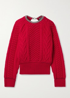 Bottega Veneta Chain-embellished Open-back Cable-knit Wool Sweater