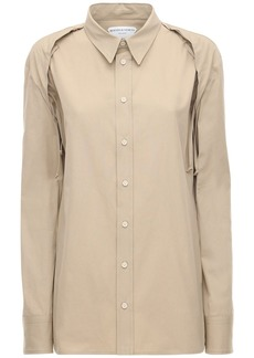 Bottega Veneta Cotton Poplin Shirt W/ Lace-up Shoulders