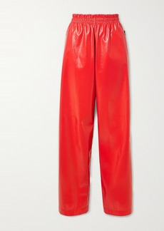 Bottega Veneta Crinkled Glossed-leather Wide-leg Pants