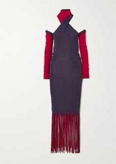 Bottega Veneta Cutout Fringed Ribbed Stretch-knit Dress