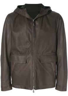 Bottega Veneta espresso lamb dark moss nylon reversible jacket