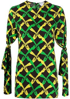 Bottega Veneta Fantasia-print tie-cuff blouse