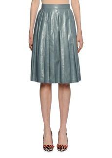 Bottega Veneta Flared Pleated Knee-Length Leather Skirt