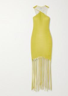 Bottega Veneta Fringed Ribbed Cotton And Silk-blend Halterneck Dress