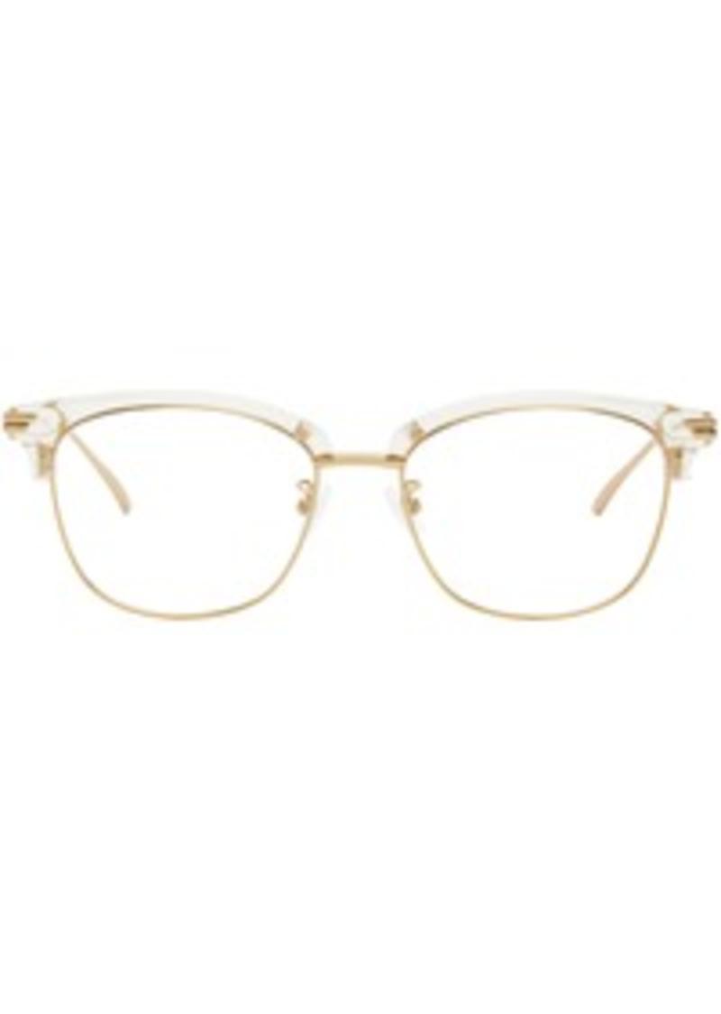 Bottega Veneta Gold & Transparent Metal Glasses