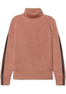Bottega Veneta Intrecciato Leather-trimmed Cotton-blend Turtleneck Sweater