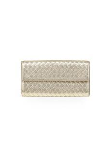 Bottega Veneta Intrecciato Metallic Continental Wallet