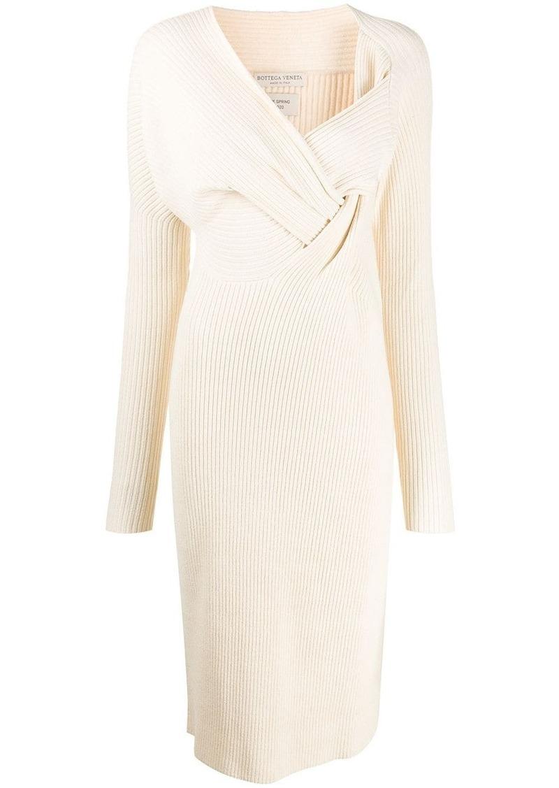 Bottega Veneta knitted draped front dress