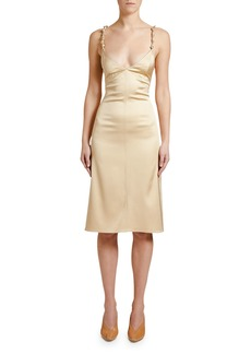 Bottega Veneta Knotted-Strap Satin Slip Dress