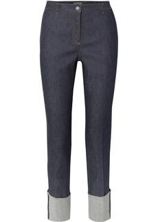 Bottega Veneta Leather-trimmed High-rise Straight-leg Jeans