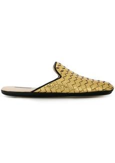 Bottega Veneta light gold Intrecciato furrow metal fiandra slipper