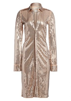 Bottega Veneta Mirror Embellished Jersey Shirtdress