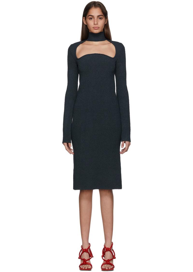 Bottega Veneta Navy Knit Silk Dress
