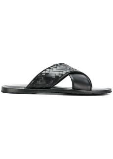 Bottega Veneta nero Intrecciato calf sapa crisscross sandal