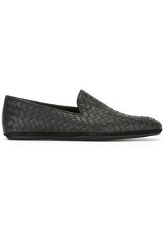 Bottega Veneta nero Intrecciato calf slipper
