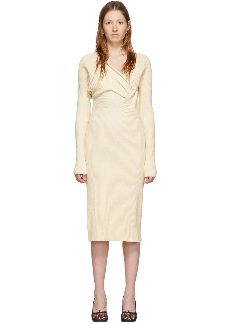 Bottega Veneta Off-White Draped Knit Dress
