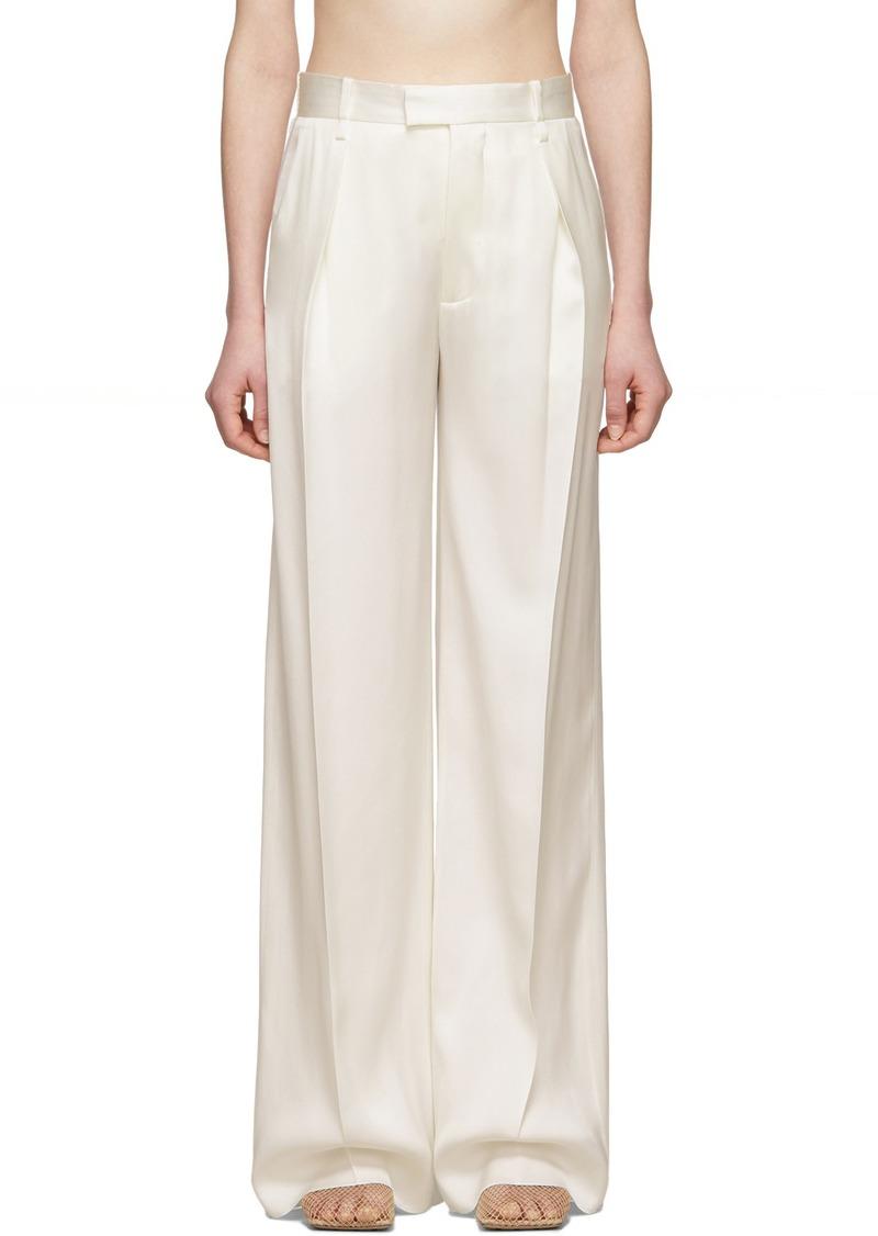 Bottega Veneta Off-White Silk Trousers