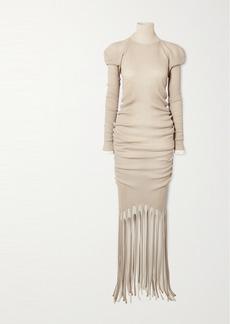 Bottega Veneta Open-back Layered Fringed Ribbed-knit Turtleneck Dress