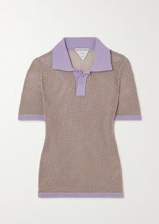 Bottega Veneta Striped Open-knit Cotton-blend Polo Shirt