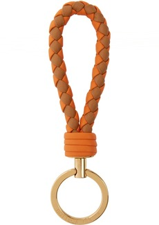 Bottega Veneta Orange & Brown Intrecciato Keychain