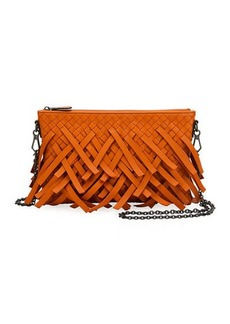 Bottega Veneta Palio Fringe Woven Leather Zip-Top Pouch Crossbody Bag