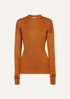 Bottega Veneta Paneled Ribbed Silk Sweater