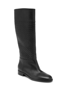 Bottega Veneta Pixelmod Leather Weave Riding Boots
