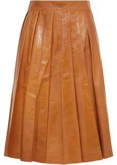 Bottega Veneta Pleated Glossed-leather Skirt