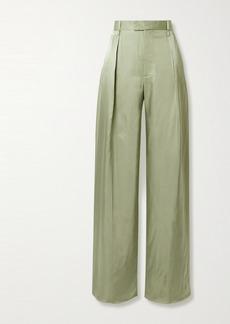 Bottega Veneta Pleated Satin-twill Wide-leg Pants