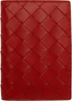 Bottega Veneta Red Intrecciato Bifold Passport Holder