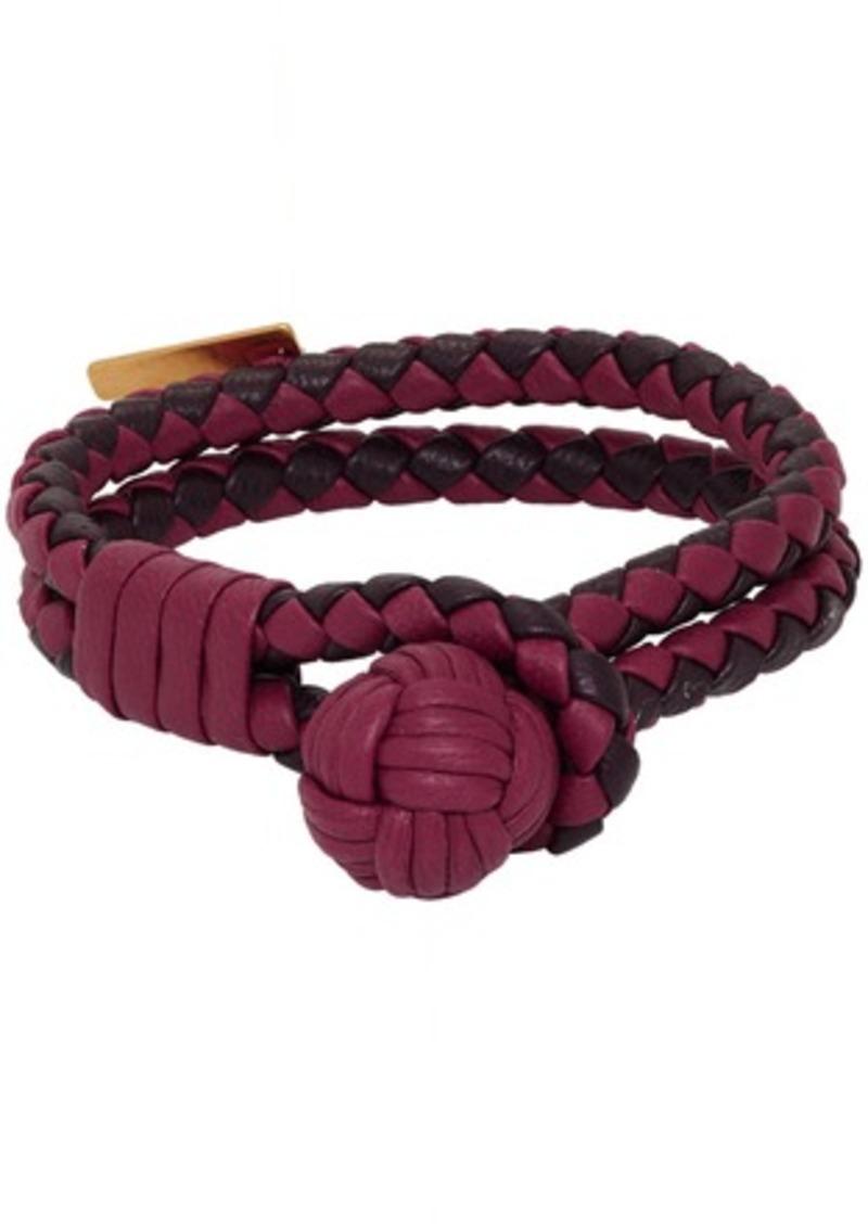 Bottega Veneta Red Intrecciato Double Bracelet