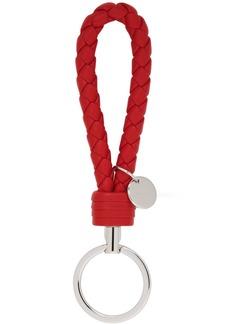 Bottega Veneta Red Intrecciato Loop Keychain