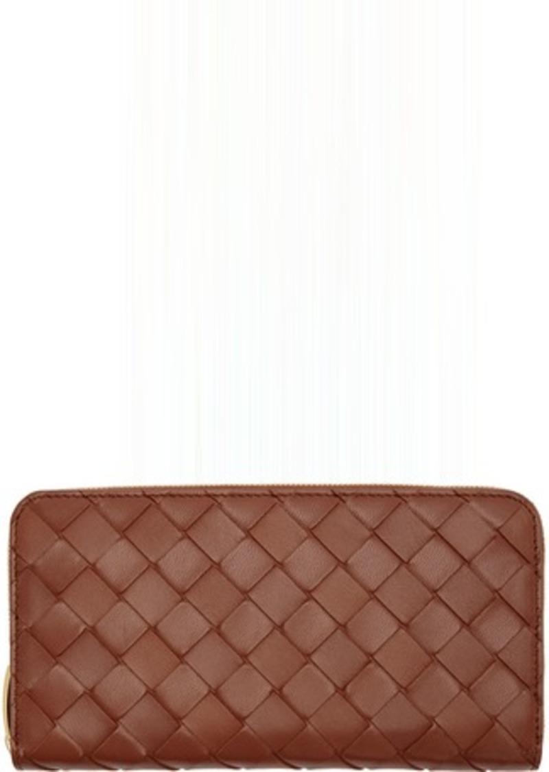Bottega Veneta Red Intrecciato Zip Wallet