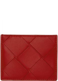 Bottega Veneta Red Macro Intrecciato Card Holder