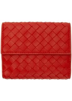 Bottega Veneta Red Mini Intrecciato Wallet