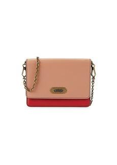 Bottega Veneta Rose Colorblock Leather Chain Wallet