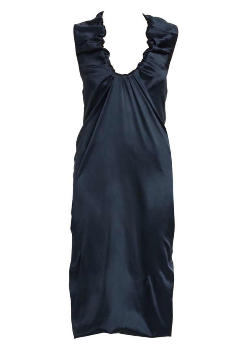 Bottega Veneta Ruched Scoopneck Silk Slip Dress