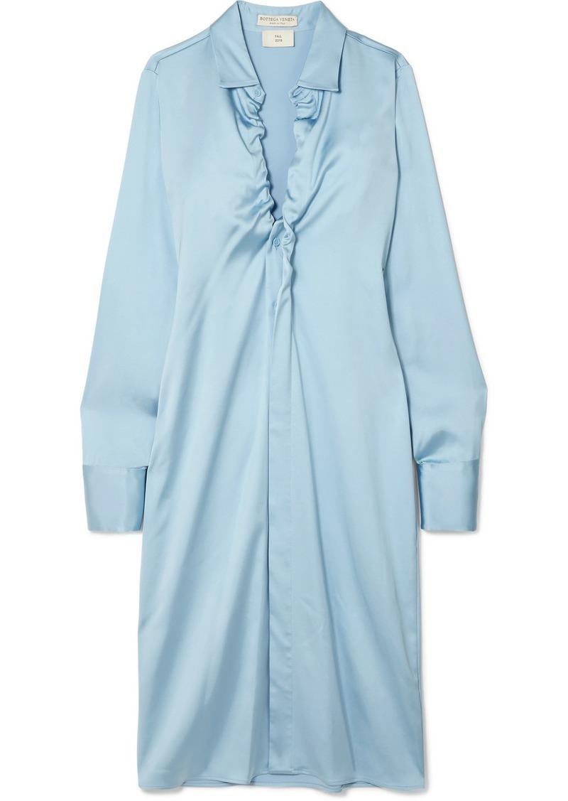 Bottega Veneta Ruched Stretch-satin Midi Dress