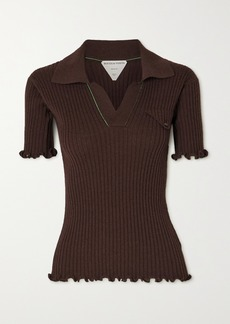 Bottega Veneta Ruffled Ribbed Wool Polo Shirt