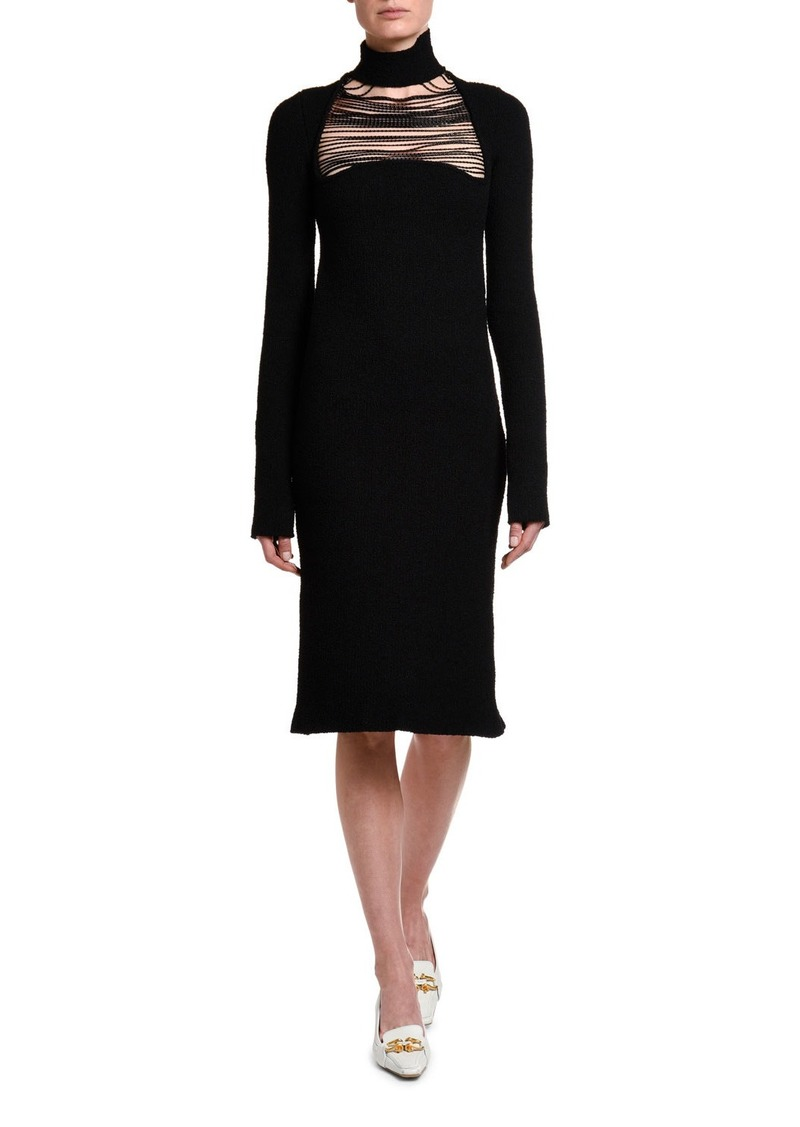 Bottega Veneta Silk Sable Chain-Yoke Turtleneck Dress