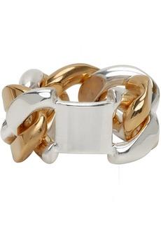 Bottega Veneta Silver & Gold Chain Ring