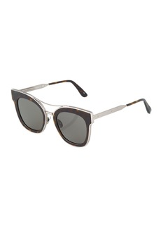 Bottega Veneta Square Metal Tortoiseshell Sunglasses