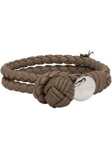 Bottega Veneta Taupe Intrecciato Knot Bracelet
