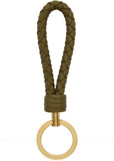 Bottega Veneta Taupe Intrecciato Loop Keychain