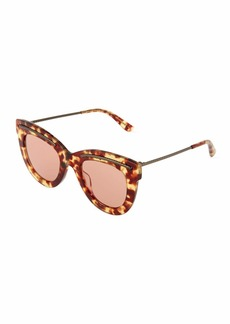 Bottega Veneta Tortoise Plastic Cat-Eye Sunglasses