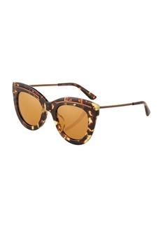 Bottega Veneta Tortoiseshell Butterfly Plastic/Metal Sunglasses