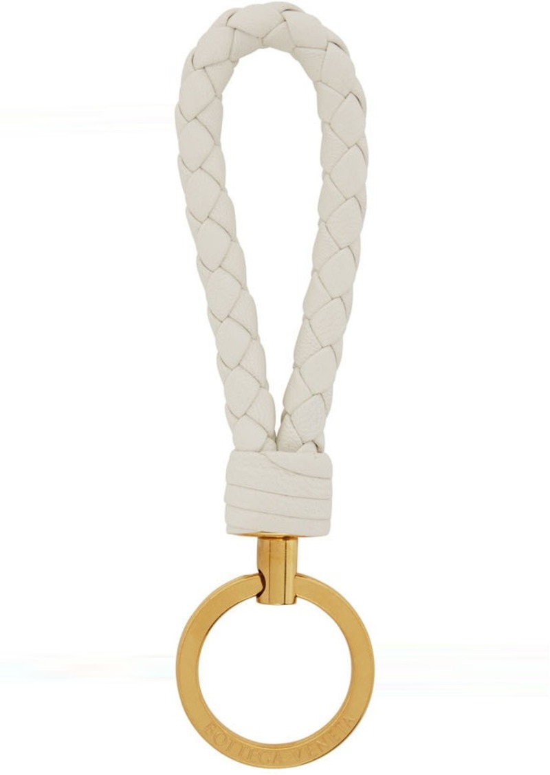 Bottega Veneta White Intrecciato Loop Keychain