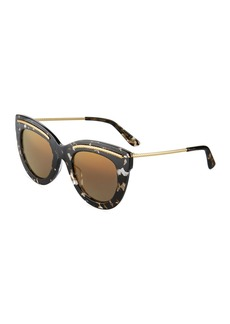 Bottega Veneta Wide Printed Cat-Eye Sunglasses