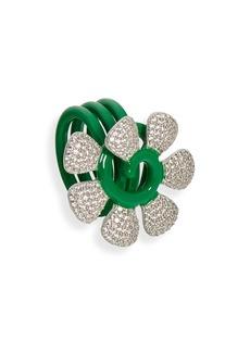 Women's Bottega Veneta Cubic Zirconia & Enamel Daisy Statement Ring